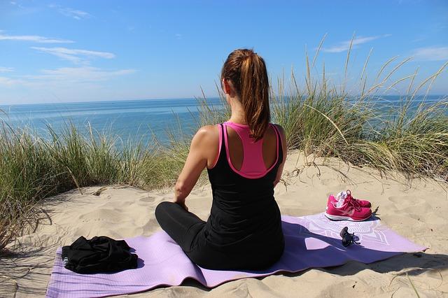 meditácia, joga, príroda, pláž, piesok, leto