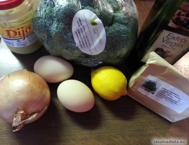brokolica, cibuľa, citrón, dijonska horčica, vajíčka, olivový olej