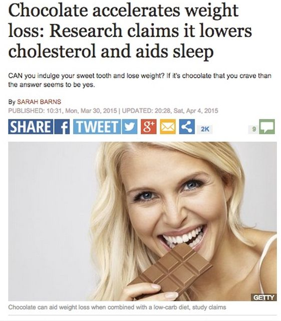 chochcolate accelerates weight loss